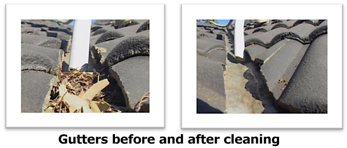 gutters before and after cleaning
